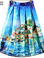 Women's Blue Skirts , Casual/Print Above Knee