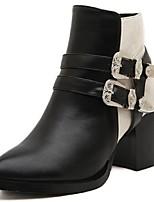 Chaussures Femme Faux Daim Gros Talon Bottine Bottes Décontracté Noir/Beige