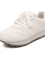 Zapatos de mujer Semicuero Tacón Cuña Comfort Sneakers a la Moda Exterior Negro/Blanco