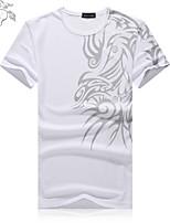 Herren Freizeit/Büro/Sport/Übergröße T-Shirt  -  Druck Kurz Baumwollmischung