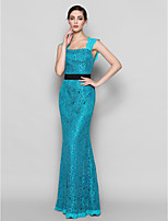 Floor-length Lace Bridesmaid Dress - Jade Sheath/Column Square