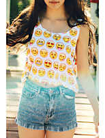 Women's Sexy Summer Emoji Print Crop Top