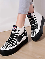 Zapatos de mujer - Tacón Plano - Plataforma / Creepers / Punta Redonda - Sneakers a la Moda - Exterior / Casual - Tela -Negro / Rojo /