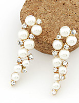 Women's Fashion Imitation Pearl Rhinestone Alloy Drop Earrings
