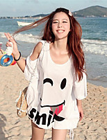 Women's Sexy/Casual Inelastic ¾ Sleeve Long T-shirt (Cotton Blends)