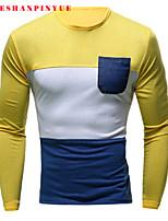 Tee-Shirt Décontracté/Travail/Sport Pour des hommes Manches longues Couleur plaine Mélange de Coton