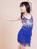 Kinderen - Latin Dans - Jurken ( Blauw , Polyester , Pailletten/Kwastje(S) )