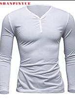 Katoenmix - Effen - Heren - T-shirt - Informeel/Werk/Sport - Lange mouw