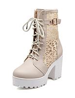 Zapatos de mujer - Tacón Robusto - Punta Redonda / Botas a la Moda - Botas - Oficina y Trabajo / Vestido / Casual - Semicuero -Negro /