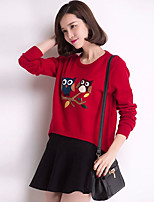 Women's Red/Black/Beige/Gray Pullover , Casual Long Sleeve