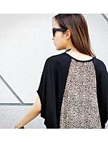 Women's Leopard Black T-shirt , Crew Neck Short Sleeve