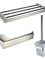Sets d'accessoire de salle de bain/Porte-rouleau WC/Porte-brosse WC/Sèche-serviette - Contemporain - Miroir Poli - Fixation au Mur