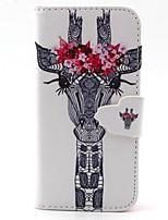 белый голова оленя с цветами шаблон PU кожаный полной случае корпуса с слот для карт и стоять на iPhone 5с