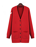 Women's Solid Red/Beige/Gray Cardigan , Casual/Plus Sizes Long Sleeve Pocket/Button
