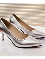Women's Shoes Faux Leather Kitten Heel Heels Pumps/Heels Dress/Casual Black/White/Silver