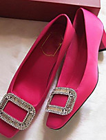 Women's Shoes Silk Chunky Heel Heels Pumps/Heels Party & Evening/Dress/Casual Black/Red/Champagne
