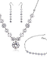 Women's Fashion Elegant Shiny Zircon Necklace Earrings Set Wedding Jewelry Set
