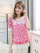 Women's Vintage Sexy Casual Print Lace Cute Party Work Micro Elastic Short Sleeve Regular Blouse (Chiffon/Lace)