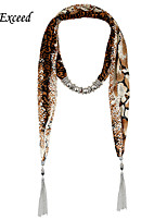 D Exceed  Women's Ethnic Style Long Scarf Necklace with Silver Alloy Tassels