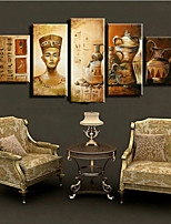 Hand-Painted Abstract Ancient Egyptian Culture Porcelain Oil Painting on Canvas  5pcs/set No Frame