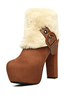 Women's Shoes  Chunky Heel Round Toe Boots Casual Black/Brown