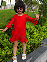 Girls' Dresses Lace Half Sleeve Round Collar Red Princess Dresses (Cotton + Lace)