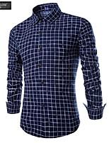 JESUNLOM®Man's Shirt Fashion Long Sleeve Casual Grid Shirt Europe Style Young Man All-Match Top Shirt