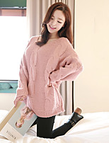 Women's Solid Pink/White Pullover , Casual Long Sleeve Split