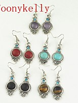 Toonykelly Vintage Look Multicolor Turquoise Amethyst Tiger Lava Stone Earring(1Pair)