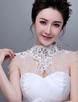 Korea Style Ivory Lace Wedding Wraps with Crystal stones with Rhinestones
