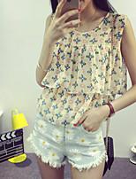 Women's Print Yellow Blouse Sleeveless