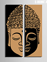 E-HOME® Stretched Canvas Art Buddha Decorative Painting  Set of 2