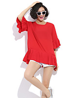 Women's Solid Red/Black T-shirt , Round Neck ½ Length Sleeve