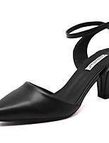 Women's Shoes Leather Chunky Heel Slingback Comfort Pointed Toe Pumps Party and Dress More Colors available