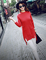 Women's Red/Gray Dress , Vintage/Casual Long Sleeve