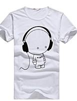 2015 New Arrival Summer Men's Casual Cartoon Print Short Sleeve Regular T-Shirts (Cotton)