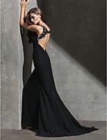 저녁 정장파티 드레스 - 블랙 시스/컬럼 스위프/브러쉬 트레인 보석 쉬폰