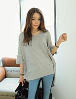 Women's Casual Micro-elastic ¾ Sleeve Long T-shirt (Cotton Blends)