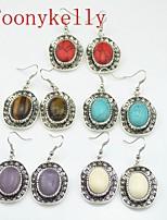 Toonykelly Vintage Look Multicolor Turquoise Amethyst Tiger   Stone Earring(1Pair)