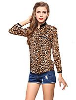 Women's Loose Plus Size Chiffon Blouse Leopard Summer Tops Work Shirt Bottoming Shirt Mock Neck