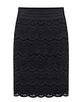 Women's Sexy Bodycon Lace Cute Work Inelastic Thin Knee-length Skirts (Lace)