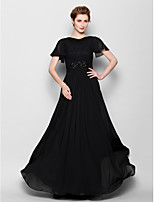 Sheath/Column Mother of the Bride Dress - Black Floor-length Short Sleeve Chiffon