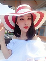 Women Casual Summer Linen/Straw Striped Floppy Hat