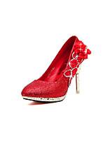 Women's Shoes  Stiletto Heel Heels/Round Toe Pumps/Heels Wedding Red/Silver