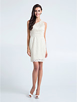 Heimkehr kurz / Mini-Spitze Brautjungfer Kleid - Elfenbein Mantel / Spalte einer Schulter