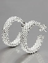 2015 Italy Style Silver Plated Net Hoop Earrings