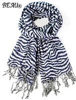 LA BEAU 2 Color Winter Classical Zebra Striped Scarf Tassel Scarf 100% Viscose