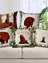 Set of 5 Cartoon Bear Family Patterned Cotton/Linen Decorative Pillow Covers