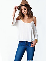 Women's Round Neck Hollow Out Criss-Cross Backless T-shirt , Cotton ¾ Sleeve