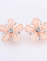 Women's European Style Fashion Sweet Flowers Rhinestone Acrylic Stud Earrings
